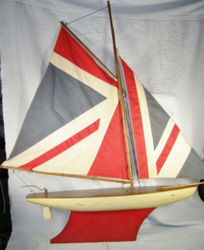 Vintage English? Wood Pond Boat Sailboat Yacht - Union Jack / British Flag Sails