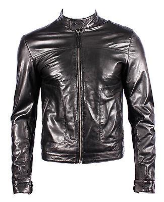Schwarze Napa Leder (Herren Neu M-124 Schwarz Napa Weich Echt Lammleder Leder Biker Rock)