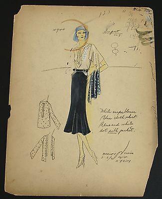 1920's Ethel Rabin Vintage Fashion Design Original Print. Great Gatsby Style #7