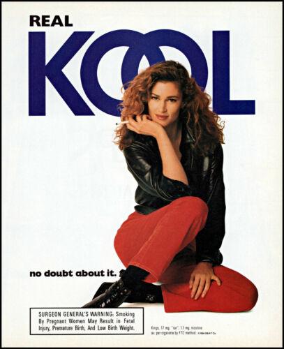 1994 Sexy woman black jacket Kool cigarettes retro photo print ad ads69