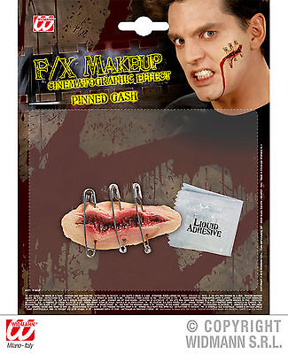 Platzwunde mit Sicherheitsnadeln Horror Halloween F/X Make-up Latex 129231613 ()