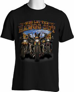 Biker t shirts who let the hawgs out mens graphic tee for 3xl tall graphic t shirts