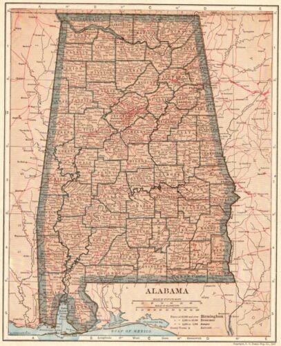 1917 Antique ALABAMA Map of Alabama State Map Original Alabama Map 8550