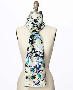 Brand New Ann Taylor Floral Backdrop 100% Silk Scarf Color Blue