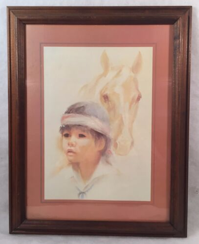 Framed Art Print Indian Boy & Horse by Lea Ames