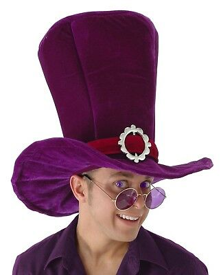 Alice In Wonderland Hat (Alice In Wonderland MaD HaTTeR Madhatter Adult Giant Top HAT Purple Costume)