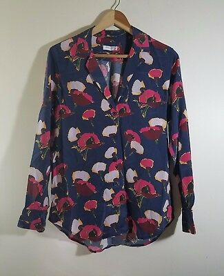 NWT Equipment Keira Poppy Floral Print Silk Shirt Peacoat Multi Size XS, M $268