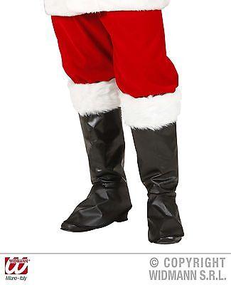 Stiefelüberzieher Stiefelstulpen schwarz mit Fell, Weihnachtsmann 1567