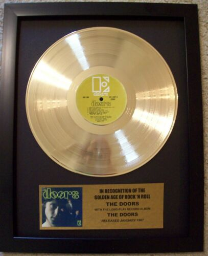 """THE DOORS """"The Doors""""  Gold Plated LP Record with mini Album cover in Frame"""