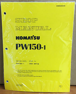 Komatsu Service Pw150-1 Excavator Shop Manual New Repair