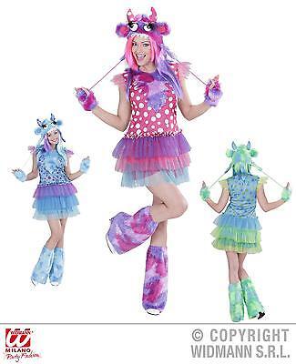 Sexy Monster Girl Kostüm, Damen Gr.36, 38 Karneval grün, pink, blau - Monster Girl Sexy Kostüm