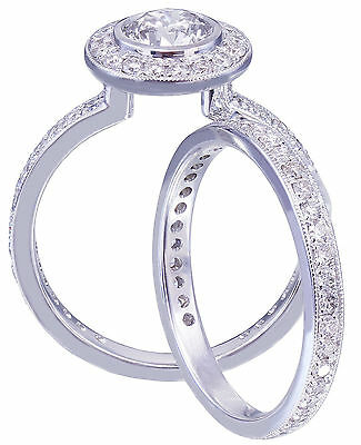 GIA H-VS2 18K White Gold Round Cut Diamond Engagement Ring and Band Bezel 1.55ct 9