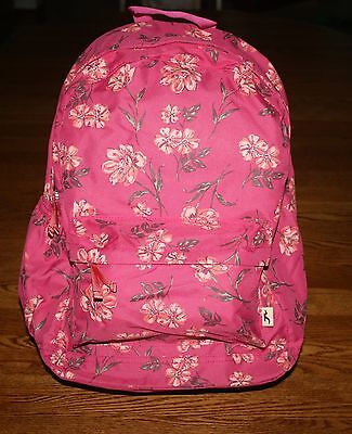 Hollister by Abercrombie Classic Backpack Rose Pink with flowers 4 school campus