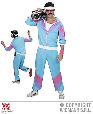 80er 90er Jogginganzug blau-weiss Kostüm, Mottoparty S,  M, L, XL, - Blau Motto Kostüm