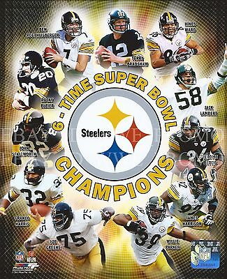 6 Time Super Bowl Champions Pittsburgh Steelers Nfl Licensed 8X10 Football Photo