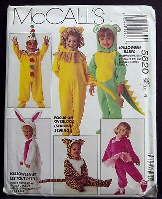 Vtg McCalls Size 4 Halloween Costume Sewing Pattern Minnie Mickey Mouse 5620 OOP