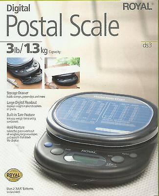 Digital Lcd Postal Scale 1 Gram .01 Kg .10 Ounce 3 Pound Usps Royal Ds3 17012y