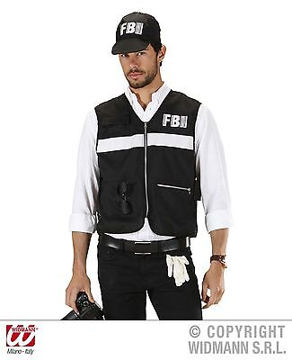 2 tlg. FBI Weste + Cap Kostüm, Agent schwarz Herren M/L u. XL,   758