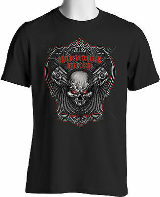 Hardcore Biker T Shirt Skull Wings Pin Stripes7X 8X Big and Tall Free Shipping -