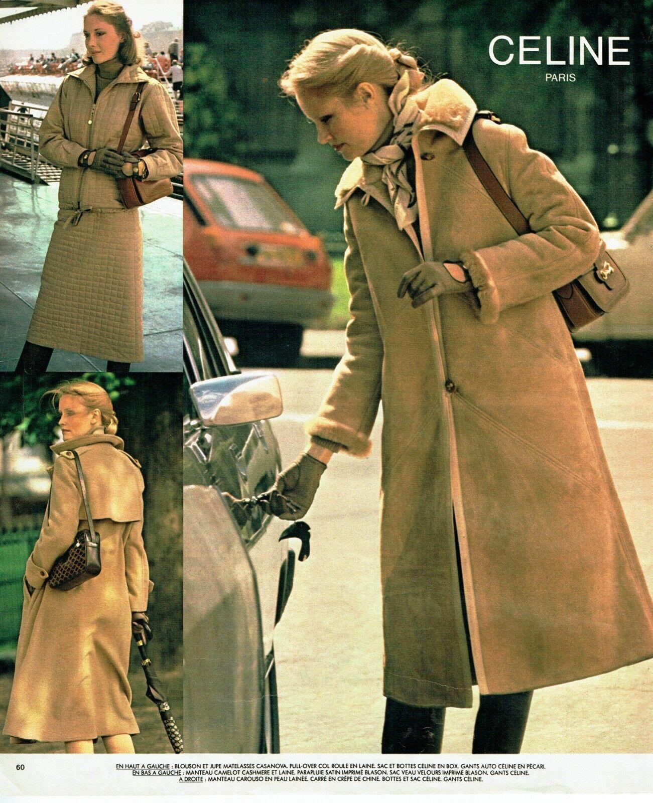Publicité advertising 120 1977   céline  haute coutuire  manteau  blouson jupe