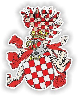 Croatia Coat Of Arms (Croatia Crown land Coat of Arms Sticker Croatian Bumper Helmet Motorcycle Laptop )