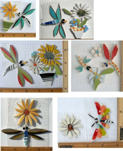 Small Large Different Shape Color Dragonfly Variations, Broken China Mosaic Tile