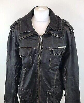 Superdry Originals Super 8 Brown Leather Jacket Biker Bomber Aviator Large Women