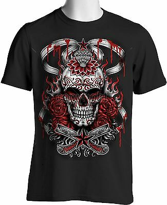 Gothic Sugar Skull T Shirt Bloody Roses Tattoo Oversize Mens Small to 6XL & Tall - Bloody Rose