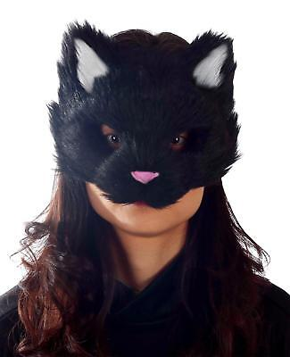 ADULT BLACK FURRY KITTY CAT FACE PVC MASK ANIMAL COSTUME MR039053 - Black Face Mask Costume