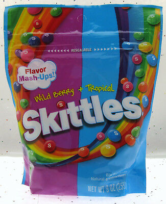 Skittles®  Wild Berry + Tropical ~ Chewy Candy American ~ 9oz Resealable Bag Candy 9 Ounce Bags