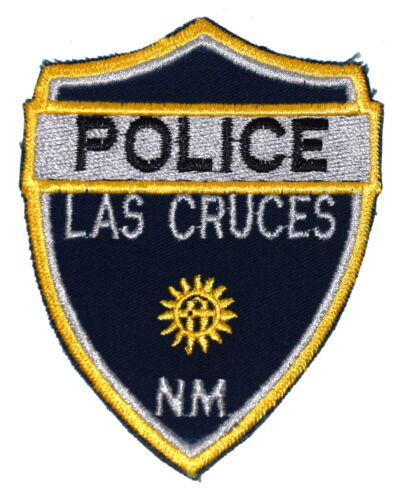 """LAS CRUCES NEW MEXICO NM Police Sheriff Patch SUN SYMBOL CUT EDGE VINTAGE OLD 4"""""""