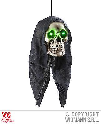 Skelett Totenkopf m.Kapuze, LED Augen leuchtend Hängedeko, animiert