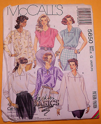 New! Ventage McCall's Misses Tops Sz 20,22,24