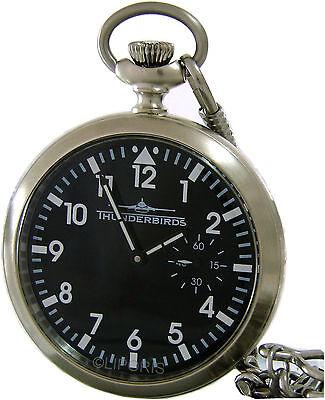 Thunderbirds mechanische Taschenuhr mit Kette pocket watch SeaGull3621 17Rubins