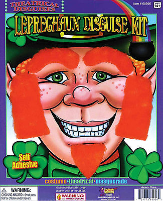 Leprechaun Disguise Kit Beard Goattee Sideburns & Eyebrows Kit Self Adhesive - Leprechaun Beards