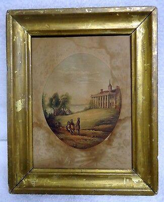 Antique print Mt. Vernon George Washington 1850 color engraving rare framed Antique Framed Print