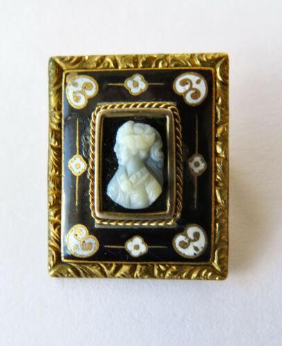 Fabulous Victorian Gold Filled Enamel Cameo Pin Brooch Renaissance Revival
