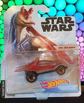 "Hot Wheels Star Wars Character Car - Jar Jar Binks ""WHITE/BLACK CARD"" Series"
