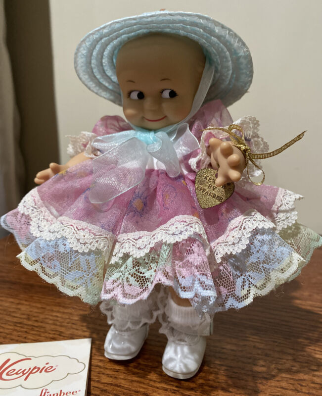 "Effanbee KEWPIE Doll - 8"" Kewpie - Fancy Easter Dress And Hat"