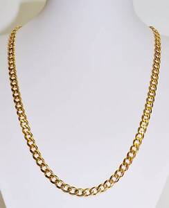 Solid 9k Yellow Gold Bevelled Curb Link Chain 37.2gm 57cm #682129 Ipswich Ipswich City Preview