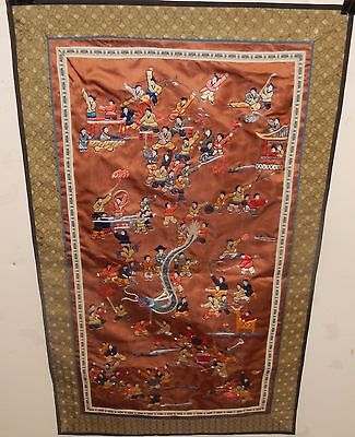 CHINESE KIDS AND DRAGON SILK EMBROIDERED TAPESTRY UNSIGNED