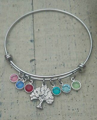 Family tree birthstone bracelet custom personalized mother grandma gift
