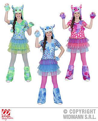Monster Kostüm Mädchen, 128, 140, 158, Karneval grün, pink, blau - Grüne Monster Mädchen Kostüm