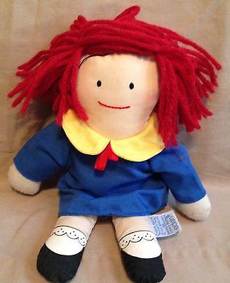 "little 9"" Madeline Rag cloth stuffed girl Doll-1990 Eden-Used-red yarn hair-coat"