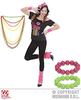 7 tlg Set 80er Jahre T-Shirt, Haarreif, Stulpen Kette Armband  pink
