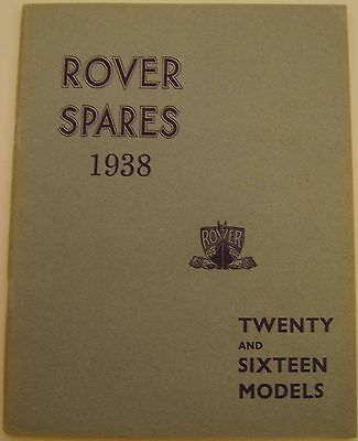 Rover P2 16 & 20 Original Factory Illustrated Spare Parts Catalogue 1938