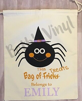 Personalized Canvas Drawstring Trick-or-Treat Bag Halloween Spider