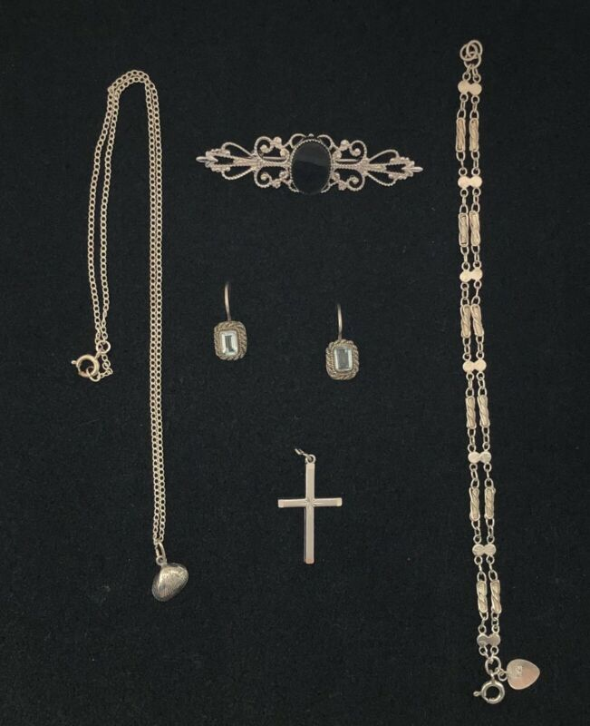 Vintage Sterling Silver Mixed Jewelry Lot No Scrap
