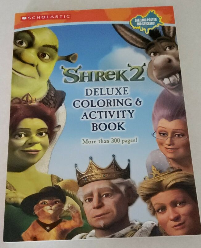 Rare Shrek 2 Deluxe Coloring & Activity Book Over 300 Pages First Printing