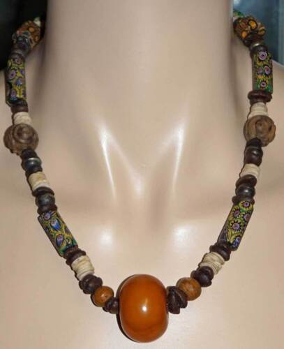 Tribal Design Necklace Large Egg Yolk / Butterscotch Amber Bead & Trade Beads ++